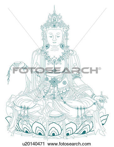 Clipart of Avalokitesvara sitting on a lotus flower, holding a.