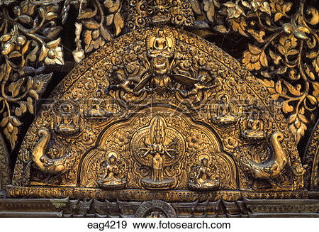 Stock Photograph of Repousse work of AVALOKITESVARA & other.