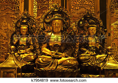 Stock Photograph of Golden Avalokitesvara Statue at Buddha Dharma.