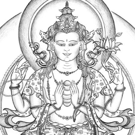 Avalokiteshvara Thangka Drawing.