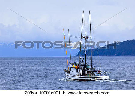Stock Photo of Commercial salmon troller *Avalon* leaving Juneau.