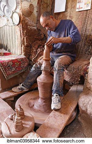 "Stock Photo of ""Potter Hasan Bircan in his pottery Chez Bircan."