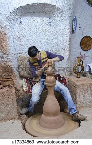 Stock Photograph of Craft workers in Avanos, Cappadocia, also.