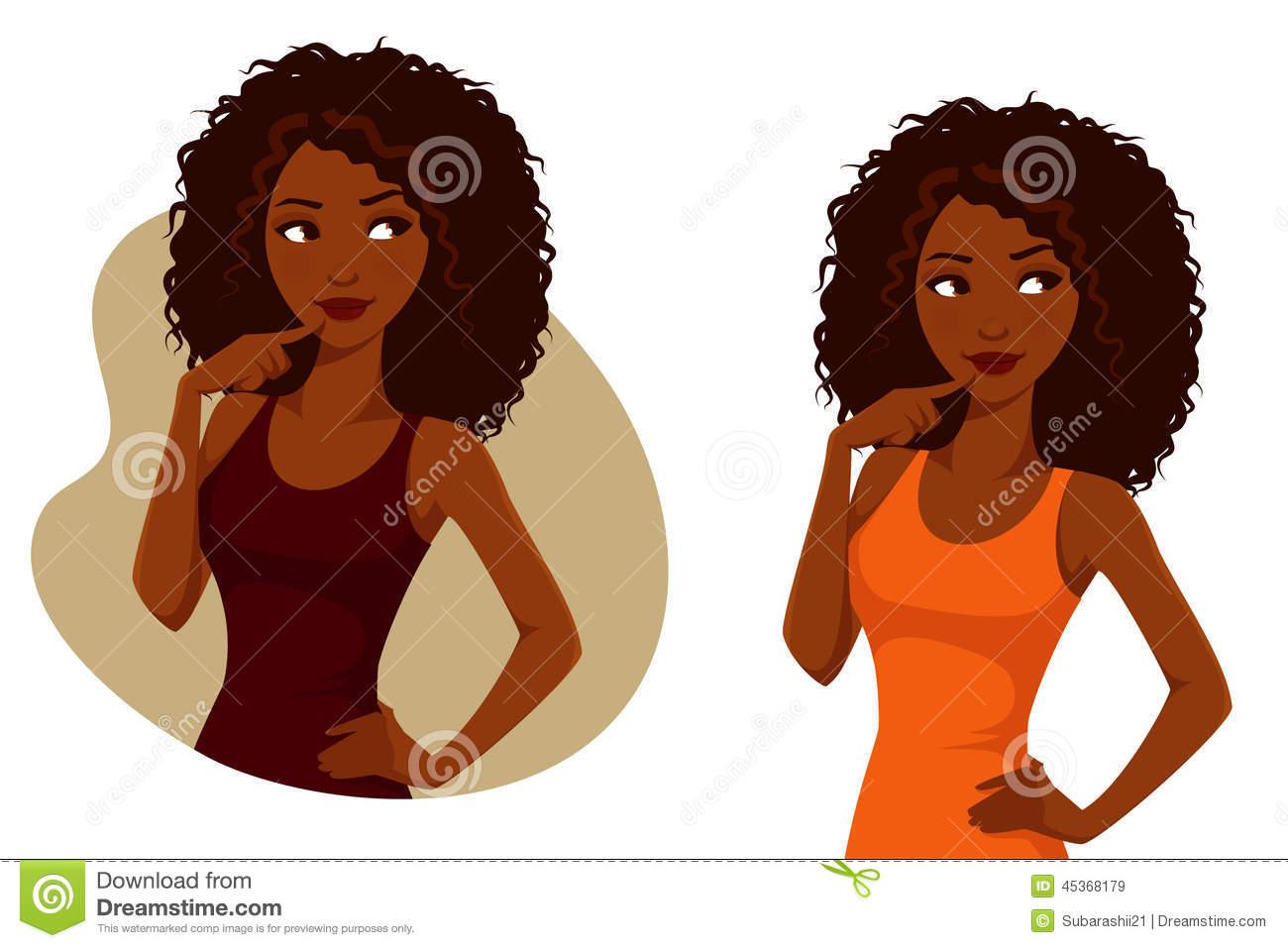 Curly Brunette Girl Clipart.
