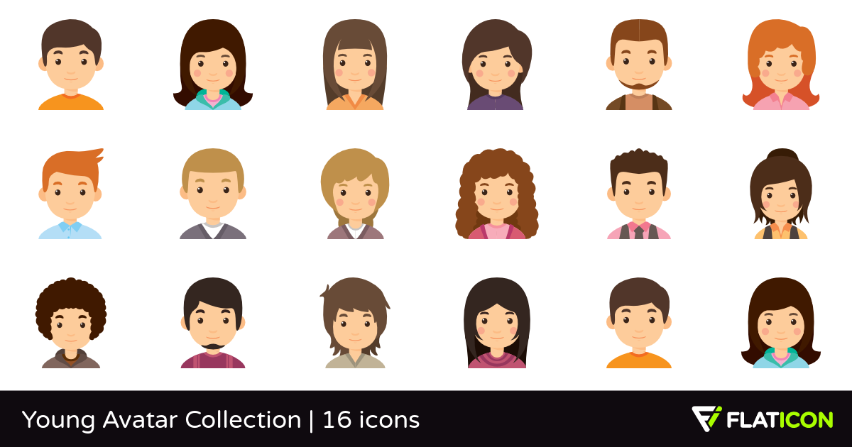 Young Avatar Collection 16 premium icons (SVG, EPS, PSD, PNG files).