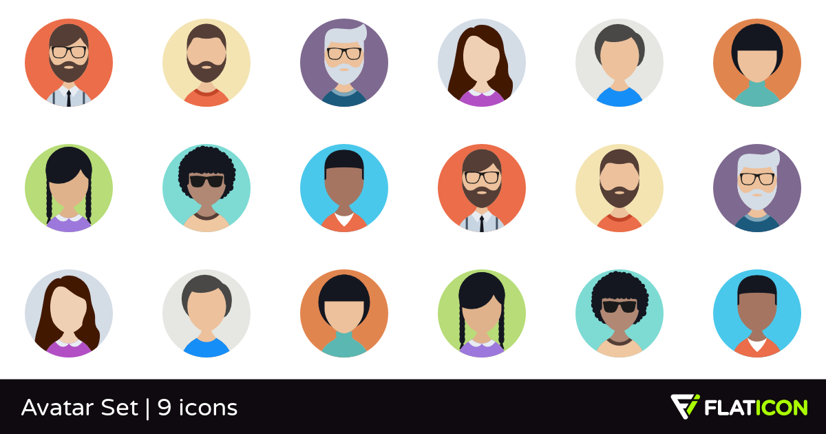 Avatar Set 9 free icons (SVG, EPS, PSD, PNG files).