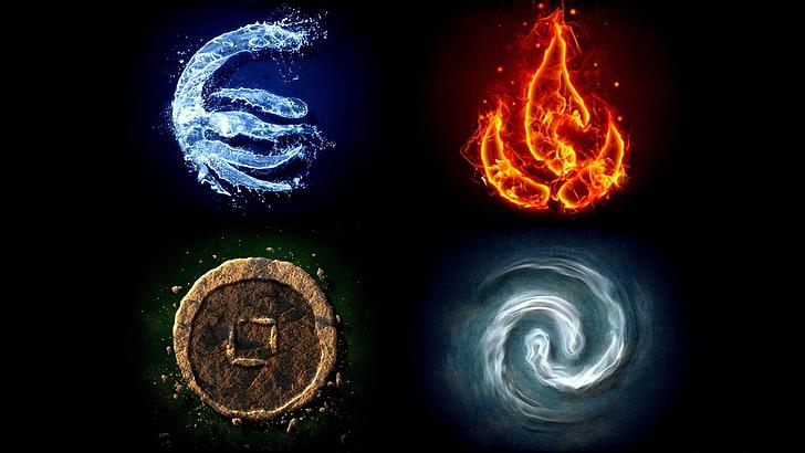 HD wallpaper: four element logos, Avatar, Avatar: The Last.