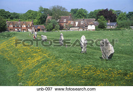Picture of Village and Stone Circle Avebury Wiltshire UK unb.