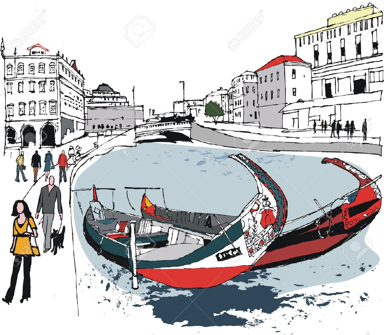 Illustration Of Boats On Canal, Aveiro, Portugal Royalty Free.