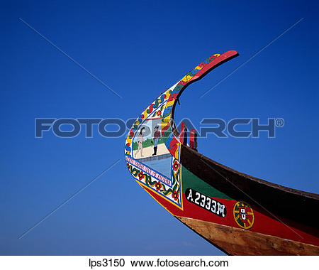 Stock Photography of 01 Portugal Aveiro Lagoon Prow Of A Moliceiro.