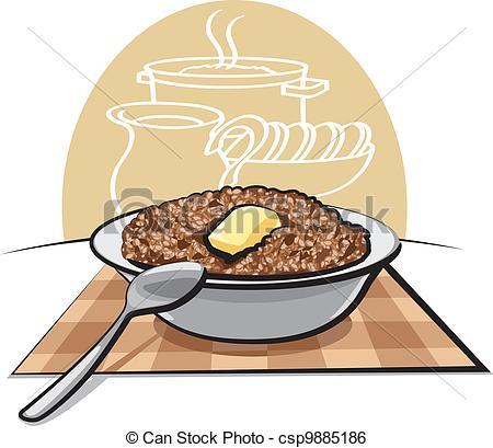 Clip Art Vector of Boiled buckwheat porridge csp9885186.
