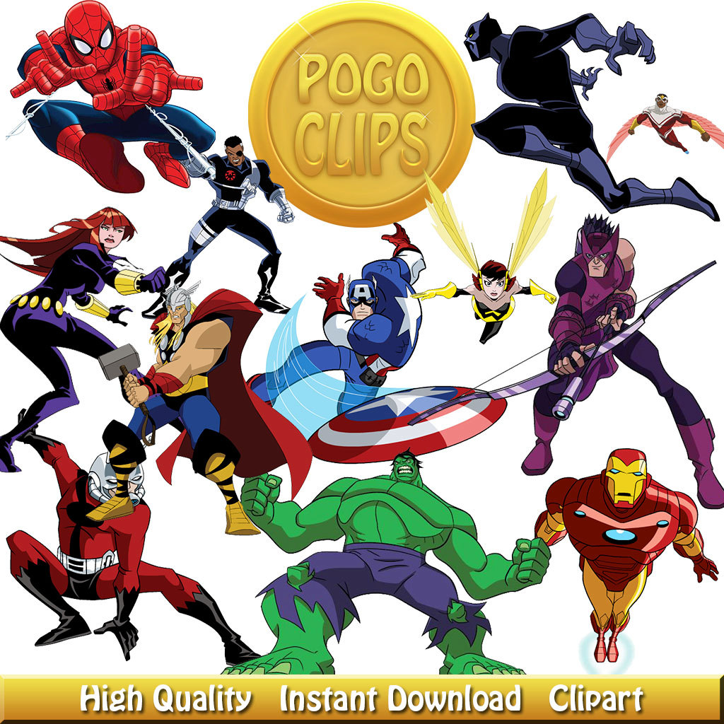 48 Avengers Clipart Characters Cartoon.