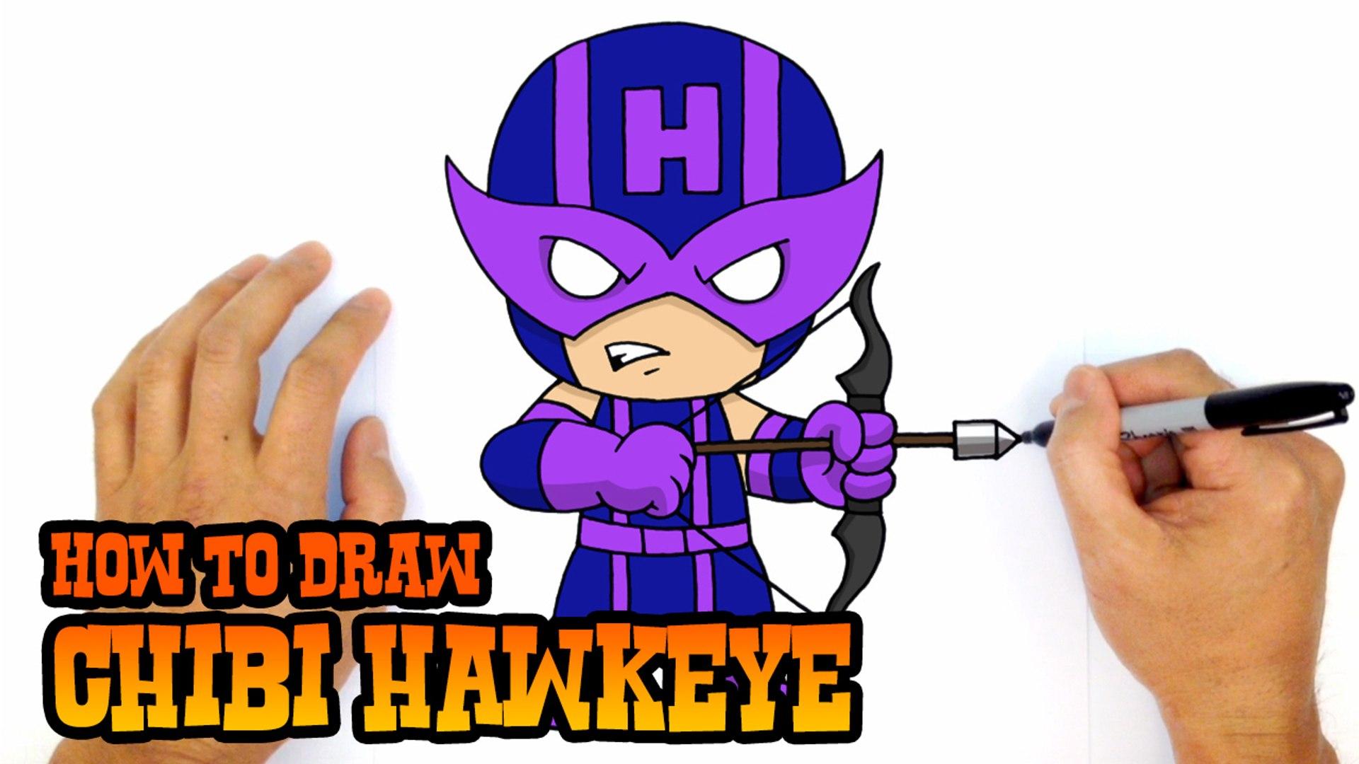How to Draw Chibi Hawkeye (Avengers).