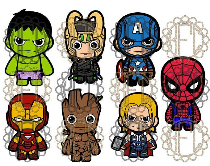 Cute Chibi Avengers Black Widow, Hawkeye, Vision and Scarlet.