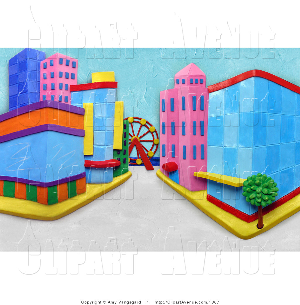 Avenue Clipart of a 3d City Street Scene with a Ferris Wheel.