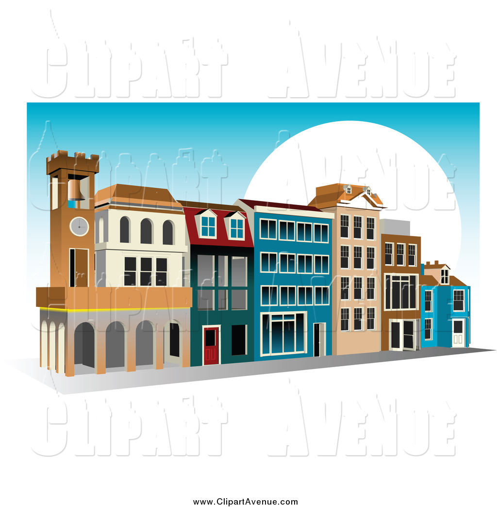 Avenue Clipart of a Blue Sky and Sun with a Shopping Center by.