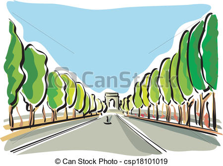 Vector Clip Art of Paris (Champs Elysees).