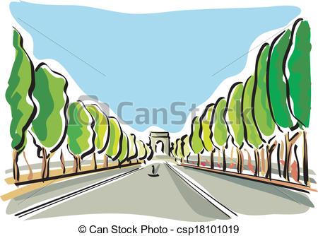Vector Clip Art of Paris (Champs Elysees).