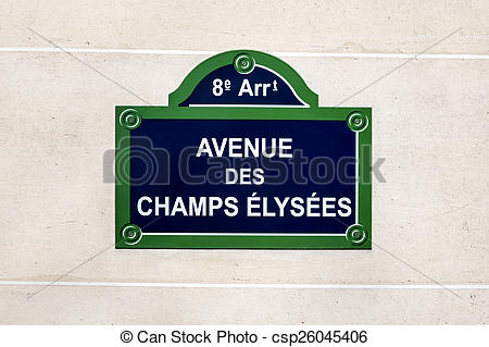 Stock Photography of Champs Elysees street sign.