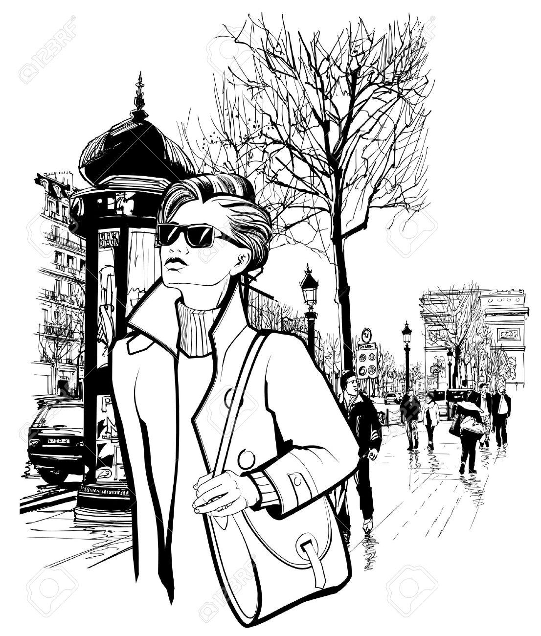 Woman Walking In Champs.
