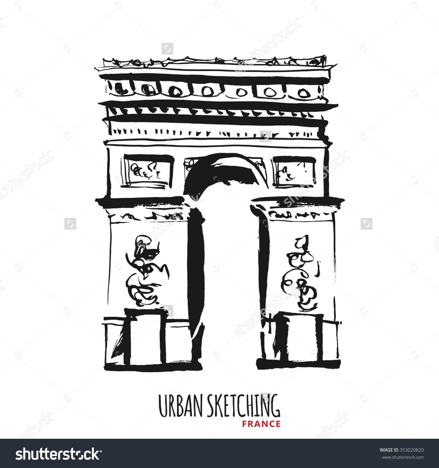 France Urban Sketch Paris Avenue Des Stock Vector 353020820.