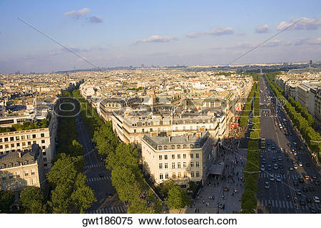 Stock Image of Aerial view of a cityscape, Avenue Des Champs.