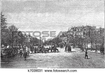Clipart of The Avenue des Champs.