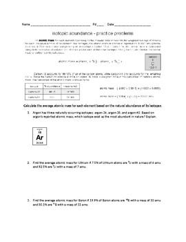 Atomic Mass Worksheets.
