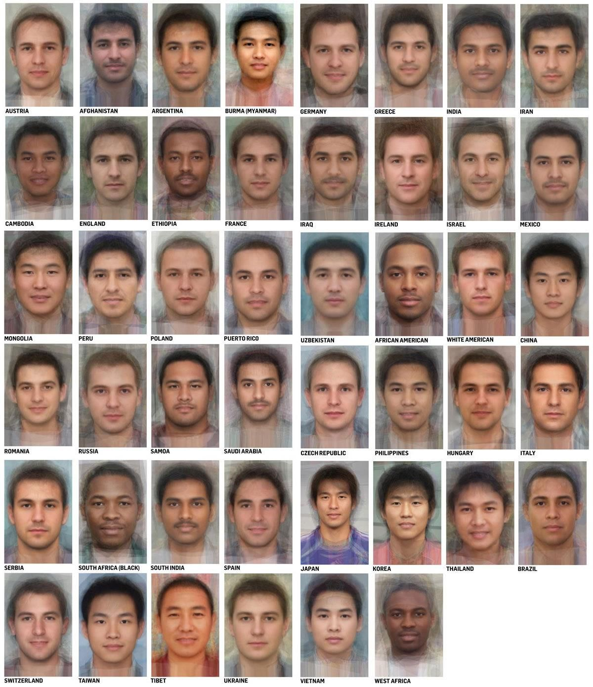Average male faces from around the World.