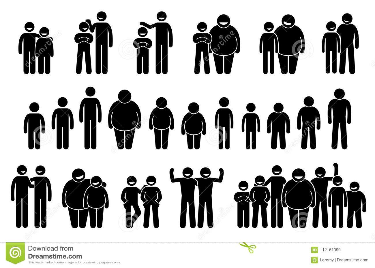 People And Man Of Different Body Sizes And Heights Icons. Stock.