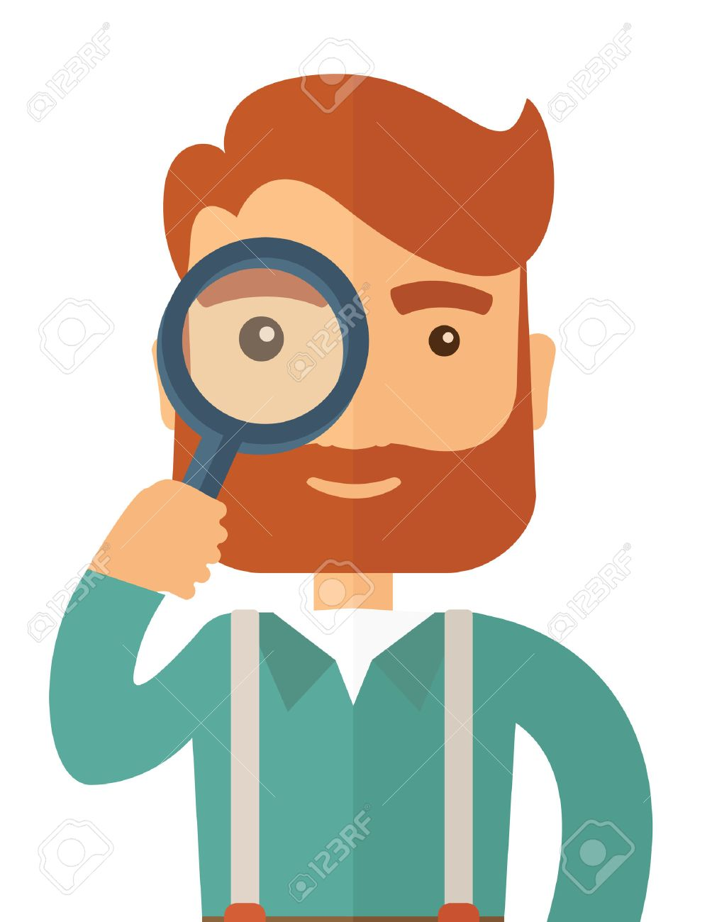 A man with beard holding while looking through a magnifying glass...