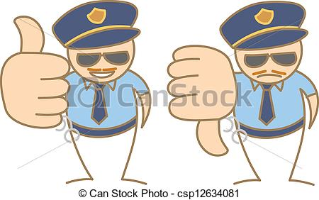 Vector of police man thumbs up.