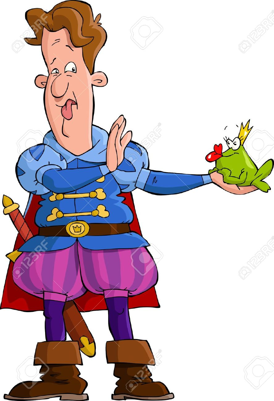 The Prince And The Frog Vector Illustration Royalty Free Cliparts.