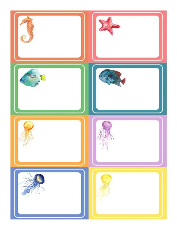 Little Mermaid name tag sticker set, Nemo, Dory (INSTANT.