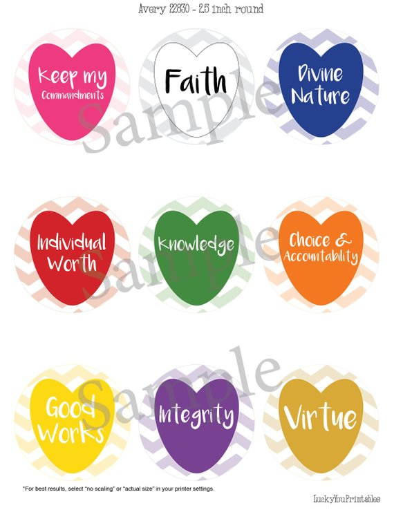 Printable YW Values round labels, heart shaped.