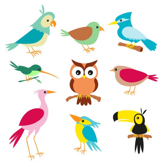 Aves cartoon simpáticas.