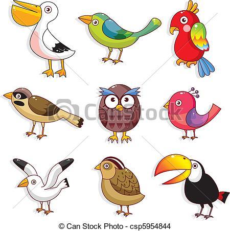 EPS vector de Aves, caricatura, icono.