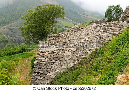 Stock Photo of Natural stone roof of an old wine cellar, Aveyron.