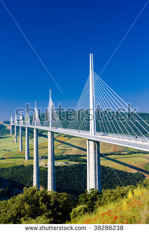 Millau Bridge Stock Photos, Royalty.