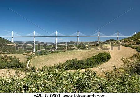 Stock Photograph of VIADUCT DE MILLAU AUTOROUTE 75 LA MERIDIEE.