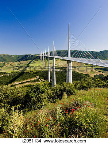 Stock Photo of Millau Viaduct, Aveyron D?partement, France.