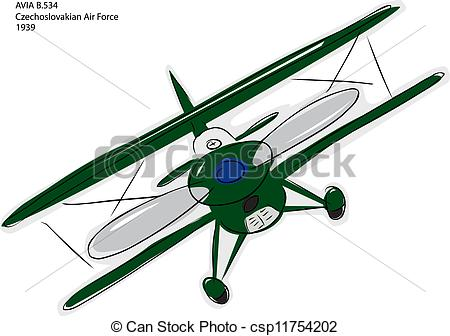 Vector Clipart of Avia B.534 Biplane Sketch.