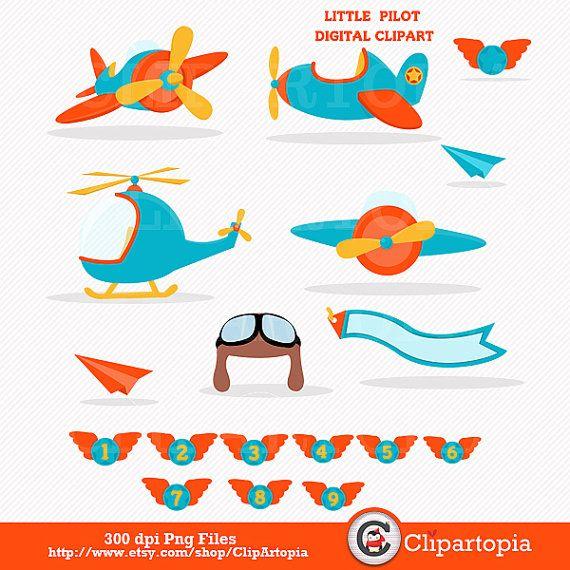 Pequeño piloto digital clipart / aviador clip art / lindos.