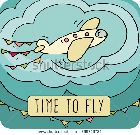 Cartoon Aircraft Fly Sky Cute Plane Stock Vector 299749724.
