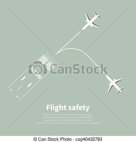 Vector of Aviation safety infographic. Scene 2. Vector.