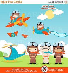 Pilot Clipart, Little pilot Clipart, Airplane Clipart, Aviator.