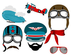 Details about DIGITAL Aviator photo booth props NO PHYSICAL ITEM.