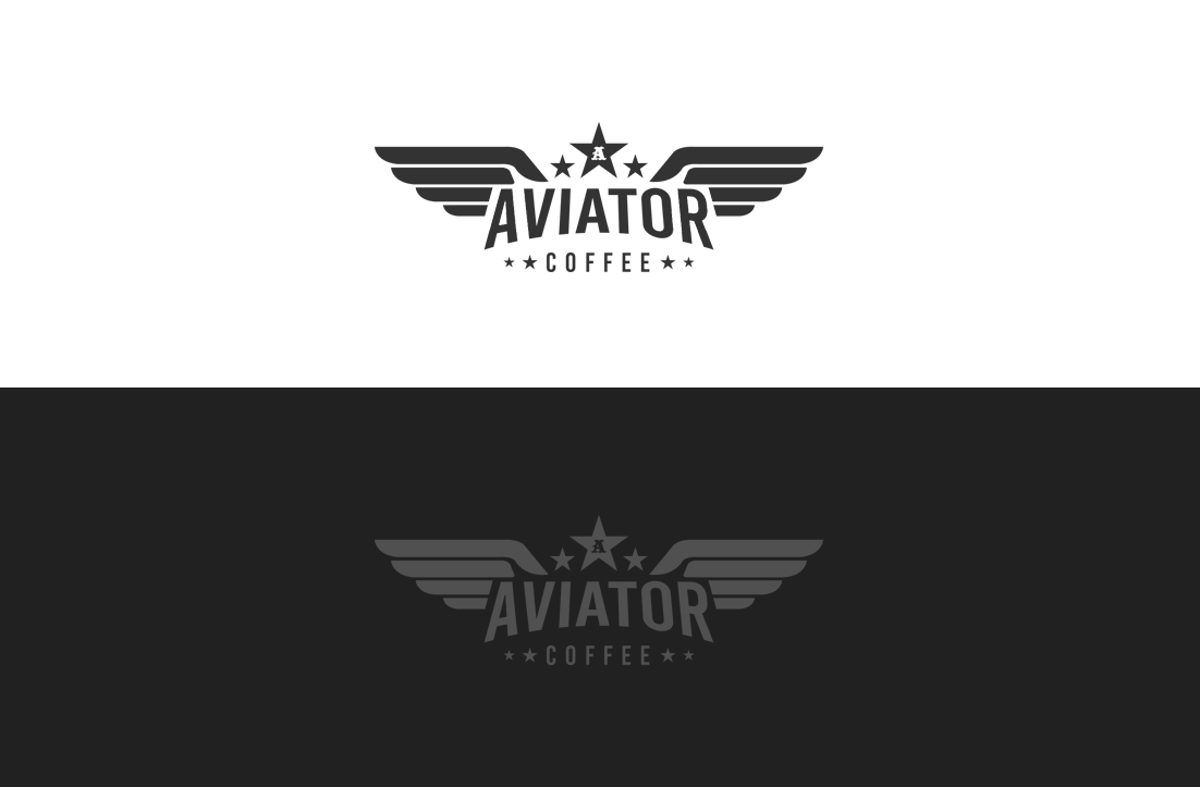 Masculine, Traditional Logo Design for Aviator Coffee by.