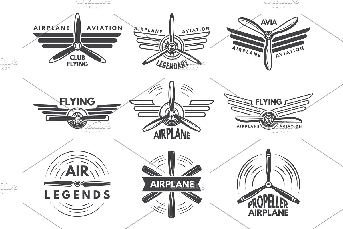 Labels an logos for military aviation. Aviator symbols in monochrome style.