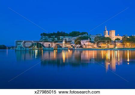 Stock Image of Palais Des Papes, Pont St Benezet, Avignon.